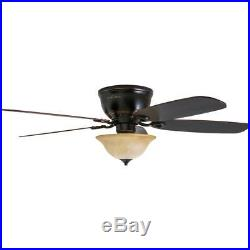 52-in Oil Rubbed Bronze Flush Mount Indoor Ceiling Fan with Light Kit and Remote