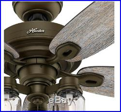 52-in Rustic Aged Iron Outdoor Downrod or Flush Mount Ceiling Fan with Light Kit