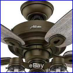 52 in. Rustic Bronze Ceiling Fan Industrial Light Kit Reversible Blades Quiet