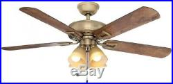 52 in. Smart Ceiling Fan with LED Light Kit and WINK Hub Remote Control, Brass