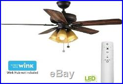 52 in. Smart Ceiling Fan with LED Light Kit and WINK Hub Remote Control, Bronze
