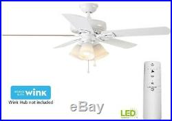 52 in. Smart Ceiling Fan with LED Light Kit and WINK Hub Remote Control, White