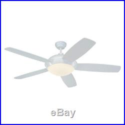 52-in White Downrod Mount Indoor Ceiling Fan Included Remote Control Light Kit