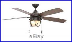 52 inch 5-Blades Indoor/Outdoor Natural Iron Ceiling Fan Frosted Glass Light Kit