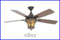 52 inch 5-Walnut Blades Natural Iron Indoor/Outdoor Ceiling Fan Light Dimmer Kit