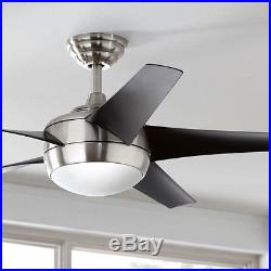52 inch Ceiling Fan with Light and Remote Control Kit Modern Brushed Nickel NEW