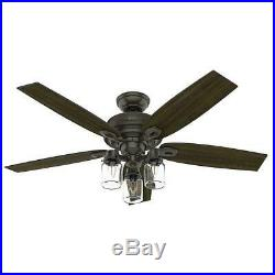 52 inch LED Indoor Bronze Ceiling Fan with Light Kit Farmhouse Decor Rustic Lamp