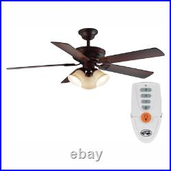52in Ceiling Fan 5 Blades with LED Light Remote Control Kit Mediterranean Bronze