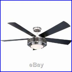 52in. Ceiling Fan Integrated Dome Light Kit in Frosted Opal Glass Brushed Nickel