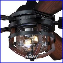 54 Black & Replica Wood Finish LED Indoor/Outdoor Ceiling Fan with Light Kit