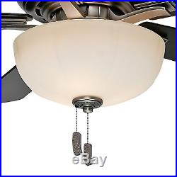 54 Casablanca Ceiling Fan with a Cased White Glass Light Kit, Antique Pewter