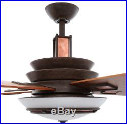 54 Copper Plated Mission Ceiling Fan & Remote, Iron Art Deco Fixture Light Kit