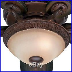 54 Hunter Brushed Cocoa Ceiling Fan with Amber Gradated Cocoa Glass Light Kit