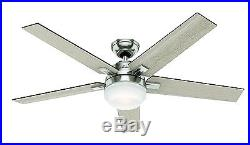 54 Hunter Contemporary Ceiling Fan, Brushed Nickel, LED Light Kit and Remote