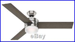 54 Hunter Modern Ceiling Fan with LED Light Kit in Brushed Nickel