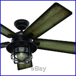 54 Hunter Outdoor Ceiling Fan in Weathered Zinc with LED Light Kit and Remote