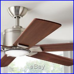 54 Large Mission LED Ceiling Fan + Remote Office Loft Brushed Nickel Light Kit