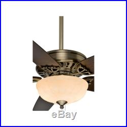 54 In Antique Brass Downrod Close Mount Indoor Ceiling Fan Light Kit Home Decor