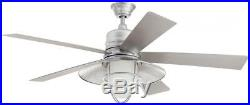 54 in. LED Indoor Outdoor Galvanized Ceiling Fan with Light Kit Remote Control