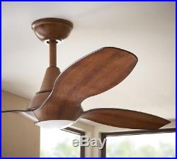 56 Large Curved Ceiling Fan + Remote Office Loft LED Light Kit Unique Sleek KOA
