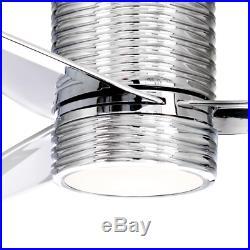56 Large Unique Chrome Ceiling Fan + Remote Elegant Fancy Silver LED Light Kit