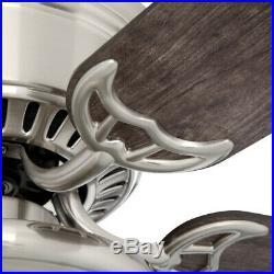 56 in. Brushed Nickel Ceiling Fan with Light Kit 5 Blade LED Light Indoor Hugger