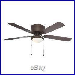 56 in Large Indoor LED Ceiling Fan Flush Mount Low Profile Light Kit Quiet Decor