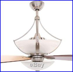 60 Ceiling Fan Light Kit Brushed Nickel Remote Modern Indoor 3 Speed 5 Blades