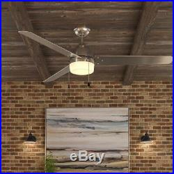60 Ceiling Fan with Light Kit Integrated LED Indoor Outdoor Brushed Nickel New