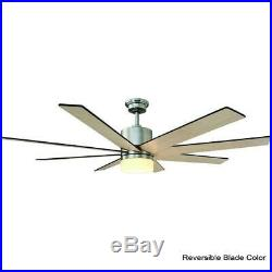 60 Inch Ceiling Fan LED Light Kit Remote Control 9 Speed Indoor Brushed Nickel