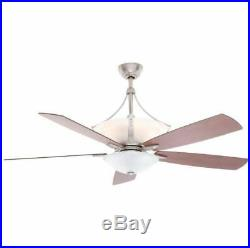 60 Inch Indoor Brushed Nickel Ceiling Fan With Alabaster Housing & Light Kit