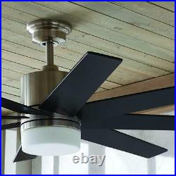 60'' Indoor Zolman Pike LED DC Nickel Ceiling Fan withKit & RC Home Decorators Col