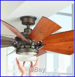 60 in. 12 Blades LED 9 Speed Indoor Ceiling Fan Light Kit Remote Espresso Bronze