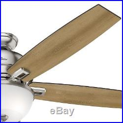 60 in. Hunter LED Ceiling Fan with Clear Frosted Glass Light Kit