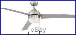 60 in. Indoor Outdoor Ceiling Fan with Light Kit Reversible Motor Brushed Nickel