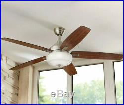 60 in. LED Indoor Brushed Nickel Ceiling Fan with Light Kit and Remote Control