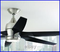 60 in LED Indoor Brushed Nickel Ceiling Fan with Light Kit and Remote Control