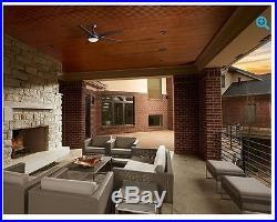 64 Indoor/Outdoor Ceiling Fan LED Light Kit Remote Dark Bronze Downrod Mount