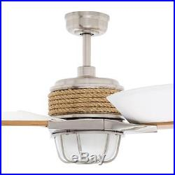 68 in 3-Canvas Blades Outdoor Brushed Nickel Ceiling Fan Frosted Glass Light Kit