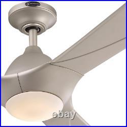 72 6 Speed Titanium Ceiling Fan Energy Efficient Dc Motor Led Light Kit Silver