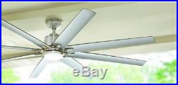 72 Ceiling Fan LED Light Kit Silver Metal Blades Brushed Nickel Remote Control
