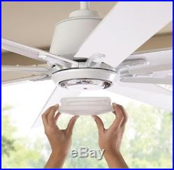72 LED Indoor Outdoor White Ceiling Fan with Light Kit and Remote Control Large
