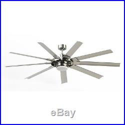 72-in Brushed Nickel Modern Large Outdoor Ceiling Fan with Light Kit And Remote