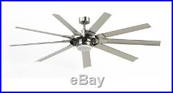 72-in Indoor Outdoor Downrod or Flush Mount Ceiling Fan with Light Kit 9 Blade