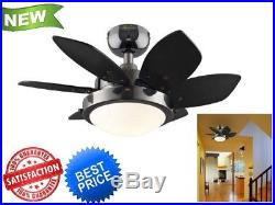 7224300 Quince 24-Inch Gun Metal Indoor Ceiling Fan, Light Kit with Opal Frosted