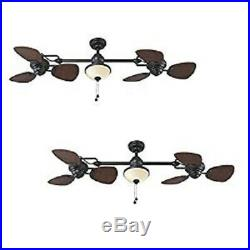 74-in Double Fan Ceiling Light Kit with Frosted Glass Shades Oil-rubbed Bronze