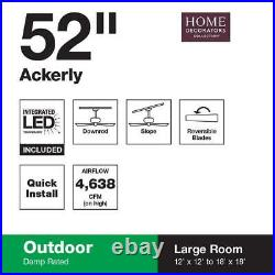 ACKERLY 52 in. INTEGRATED LED INDOOR OUTDOOR BRONZE CEILING FAN WITH LIGHT KIT