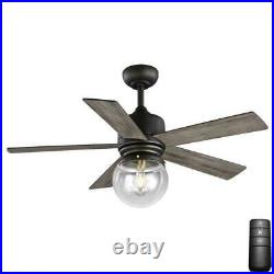 Amelia 42 in. LED Indoor Bronze Downrod Ceiling Fan with Light Kit with Remote C