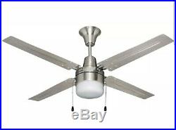 BALA 102563 48 BRUSHED CHROME CEILING FAN WITH FROSTED DISC LIGHT KIT Metal