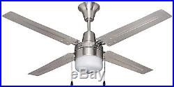 Bala 102563 48 Brushed Chrome Ceiling Fan With Frosted Disc Light Kit